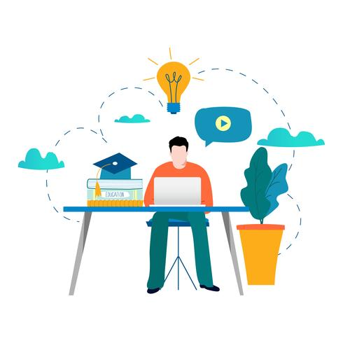 education online training courses distance education flat vector illustration